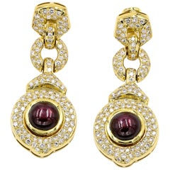 16.97 Carat Cabochon Cut Star Ruby and Diamond Earrings in 18 Karat Yellow Gold