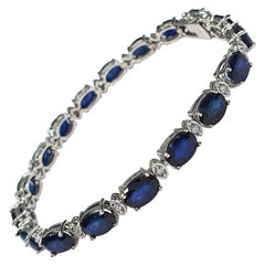16.97 Ctw Natural Sapphire and Diamond Bracelet in White Gold