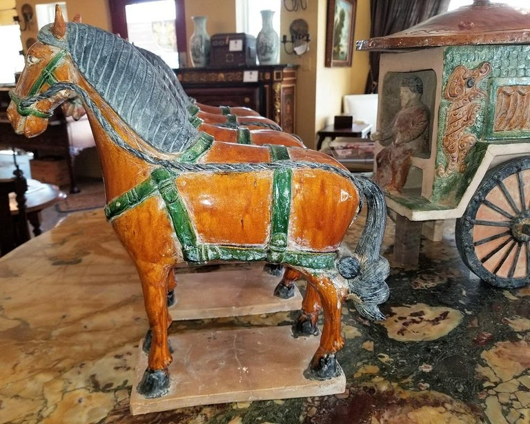 Ming Style Horses and Carriage For Sale 4