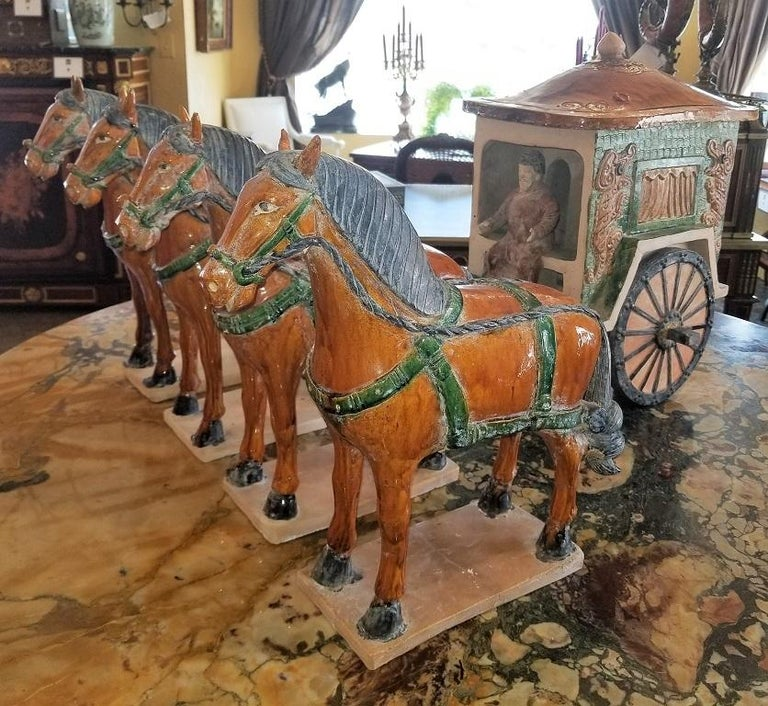 Glazed Ming Style Horses and Carriage For Sale