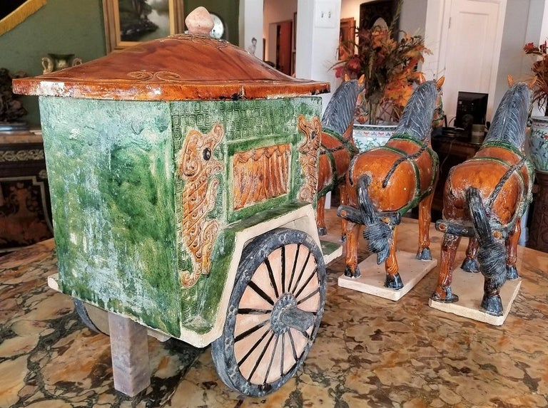 20th Century Ming Style Horses and Carriage For Sale