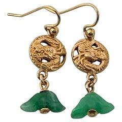 16ct Gold & Jade Antique Japanese Earrings