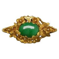 16 Carat Gold Jade Forget Me Not Pin