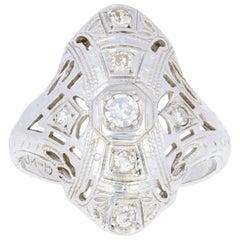 .16 Carat Single Cut Diamond Art Deco Ring, 18 Karat White Gold Women's Vintage