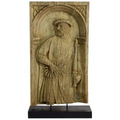 16th-17th Century French Carved Oak Panel with a Nobleman