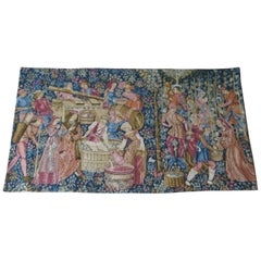 Woven Wall Hanging Tapestry Depicting Wine Making, French, 20th Century