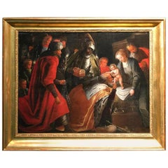 16th Century an Antique Painting Representing the Adoration of the Magi