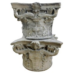 16th Century Antique Pair of Sandstone Capitals