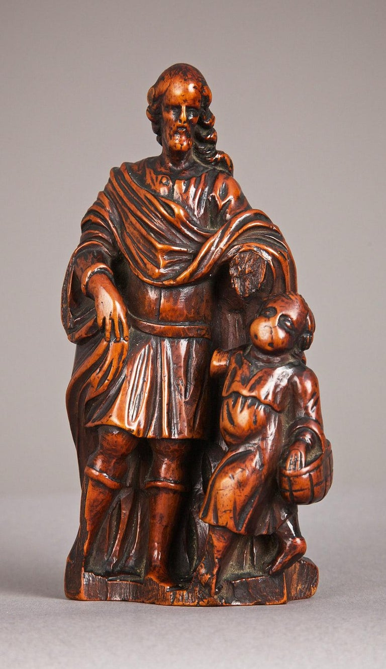 Late 16th century boxwood carving of St Joseph, Flemish - Antwerp, circa 1580 - 1600.