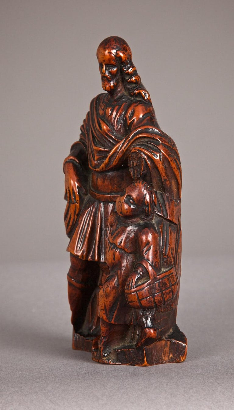 Renaissance 16th Century Boxwood Carving of St Joseph, Antwerp, circa 1580 - 1600 For Sale