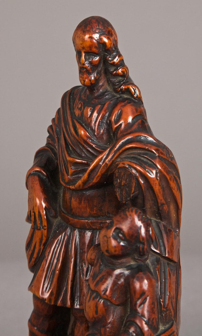 Belgian 16th Century Boxwood Carving of St Joseph, Antwerp, circa 1580 - 1600 For Sale