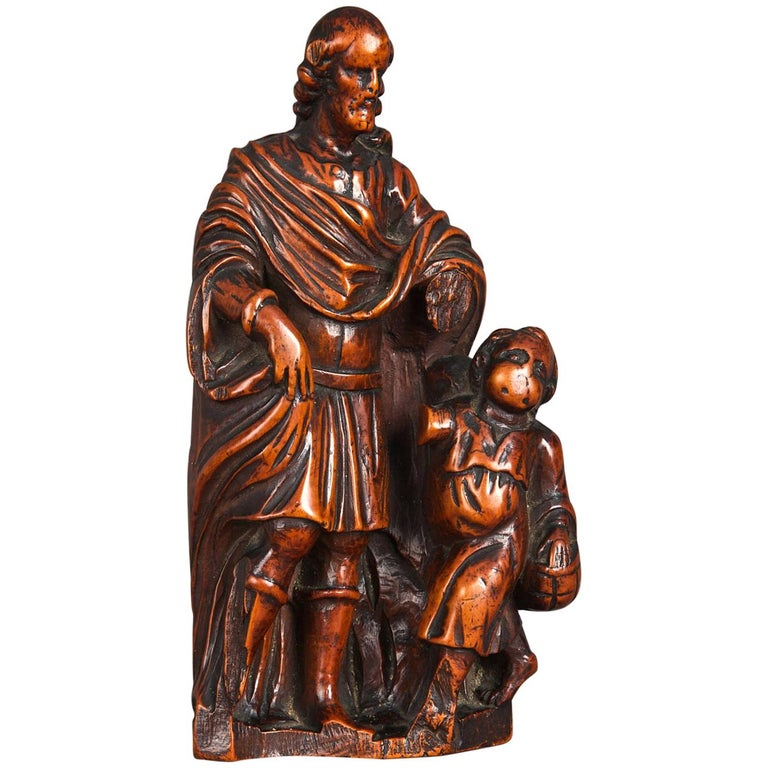16th Century Boxwood Carving of St Joseph, Antwerp, circa 1580 - 1600 For Sale