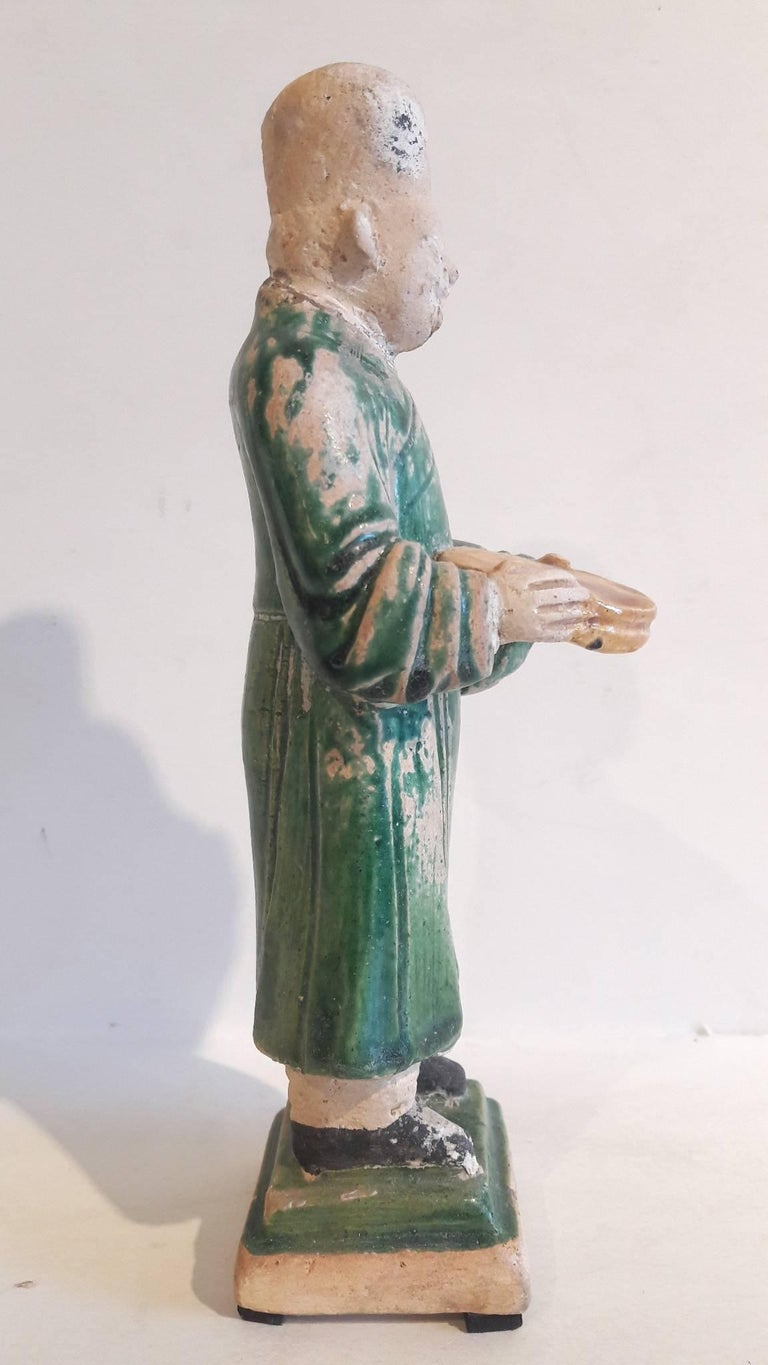 Chinese 16th Century Ceramic Attendant Figure, Ming Dynasty For Sale