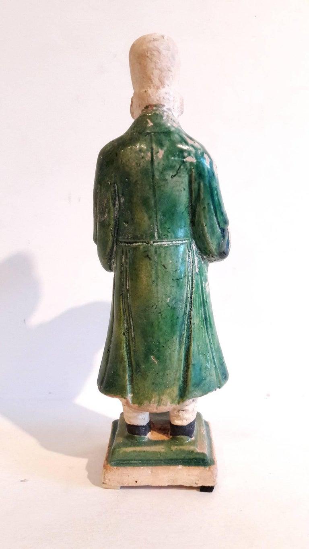 Glazed 16th Century Ceramic Attendant Figure, Ming Dynasty For Sale