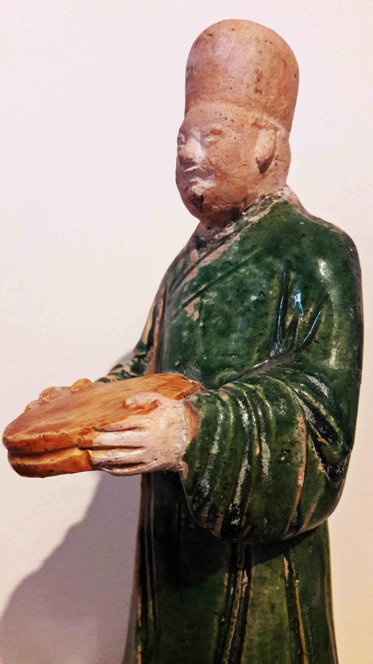 18th Century and Earlier 16th Century Ceramic Attendant Figure, Ming Dynasty For Sale
