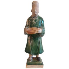 16th Century Ceramic Attendant Figure, Ming Dynasty