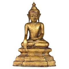 16th Century, Early Shan, Burmese Bronze Seated Buddha with Gilded Gold