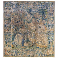 16th Century Flemish Tapestry Depicting Queen Esther, King Ahasuerus, and Haman