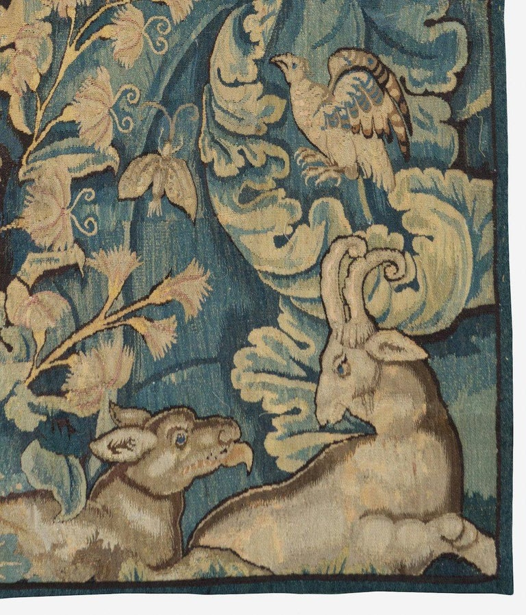 A rare 16th century Flemish Verdure Feuilles de Choux tapestry.   Feuilles de Choux (cabbage leaves in French) tapestries include large leaves in an overall, often wild motif with animals of the hunt or exotic creatures admired for their beauty and