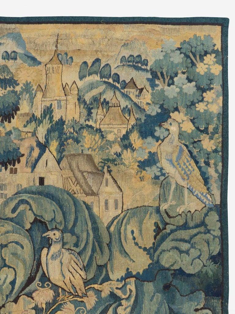 Aubusson Antique 16th Century Flemish Verdure Feuilles de Choux Tapestry For Sale