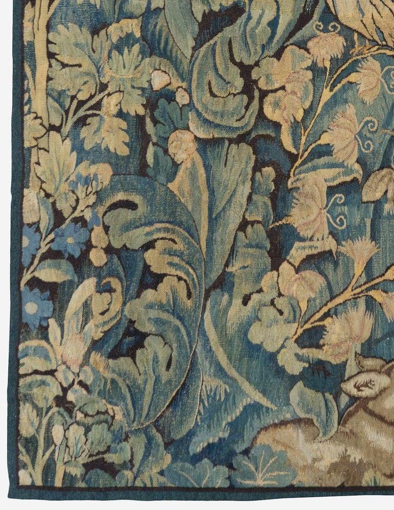 Belgian Antique 16th Century Flemish Verdure Feuilles de Choux Tapestry For Sale