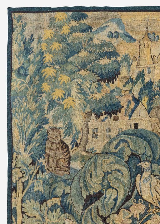 Hand-Woven Antique 16th Century Flemish Verdure Feuilles de Choux Tapestry For Sale