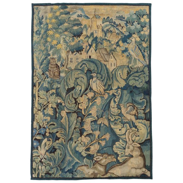 Antique 16th Century Flemish Verdure Feuilles de Choux Tapestry For Sale