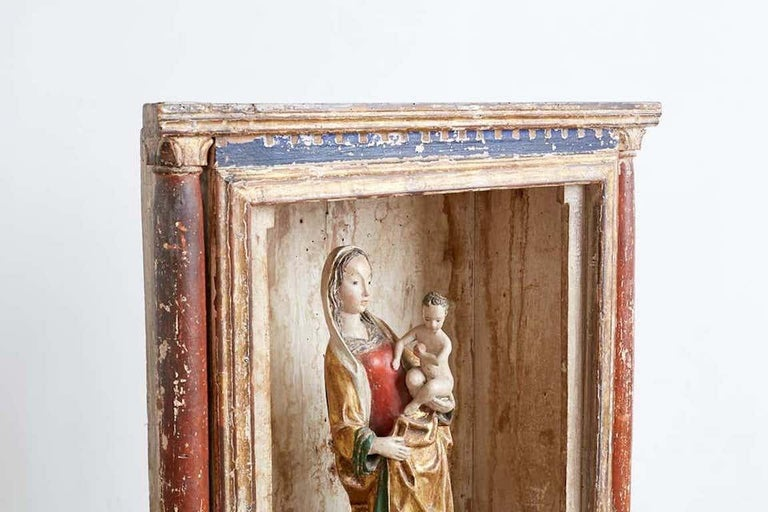 16th Century French Polychrome Madonna and Child  For Sale 1