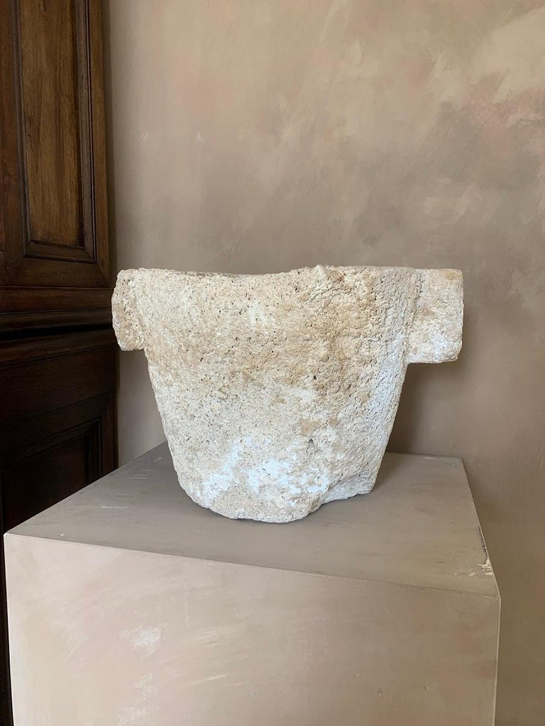 A large 16th century French sandstone mortar. Mortars were used since Antiquity to prepare food, medicines, pigments and cosmetics. In Europe stone and wood were most common up until the 18th century when exotic woods and marble were more commonly