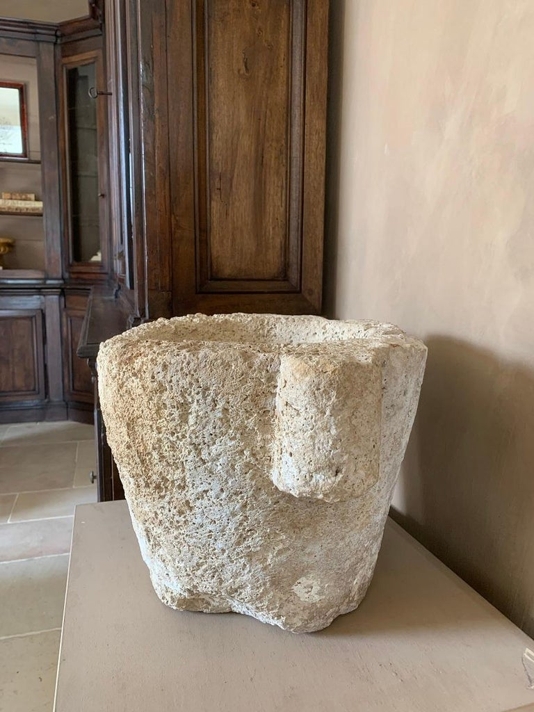 Hand-Crafted 16th Century French Sandstone Mortar For Sale