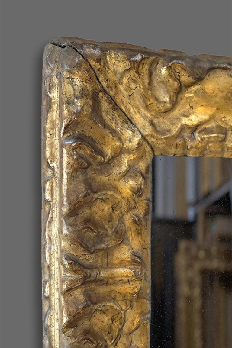 A beautiful hand carved second half of the 16th century Venetian Renaissance frame. It has an ogee profile with carved stylized acanthus leaves; double-bead-&-astragal sight; stylized leaf back. The frame retains its well preserved original matte