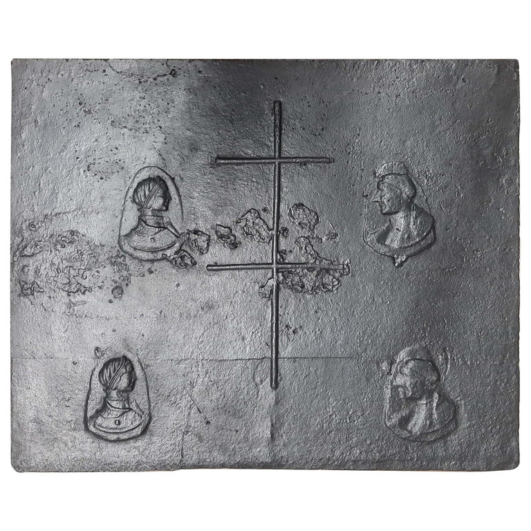 Antique 16th Century Fireplace Back Plate with Lorraine Cross For Sale