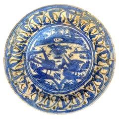 16th Century Islamic Safavid Blue and White Large Dish, Iran, Extremely Rare