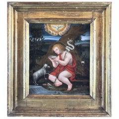 16th Century Italian Painting Saint John the Baptist with a Lamb Lombard School