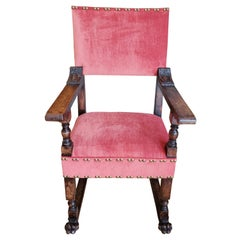 16th Century Italian Renaissance Walnut Armchair Upholstered in Red Chenille