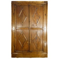 16th Century Italian Tuscan Old Chestnut 2 Door Stipo with Losanghe