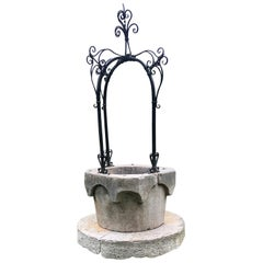 16th Century Italian Wellhead with Black Iron Arched Frame