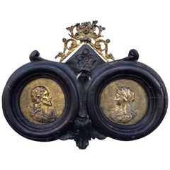 16th Century Late Renaissance Italian Pair of Gilt Bronze Religious Medallions