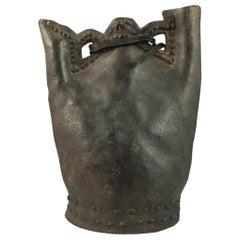16th Century Leather Tribal Ottoman Water Flask 'Matara', Turkey