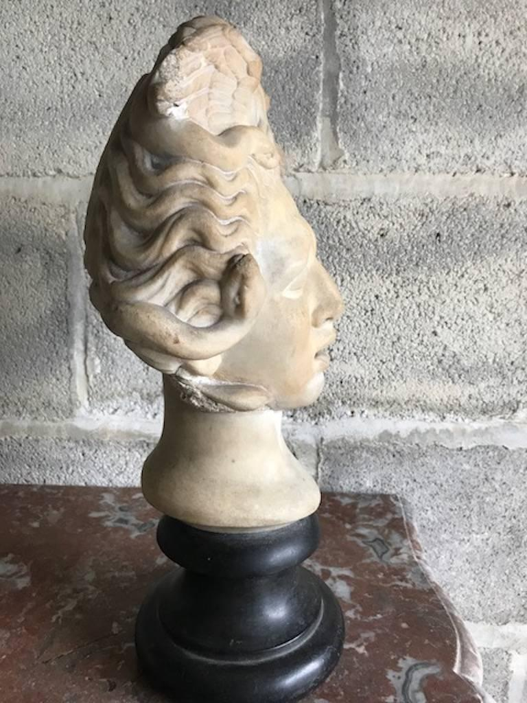 16th century Medusa marble bust. A sculpture of the eponymous character from the classical myth. Mounted on a circular black marble sockolet. Depicted are serpents and wings intertwined in her swiped hair.