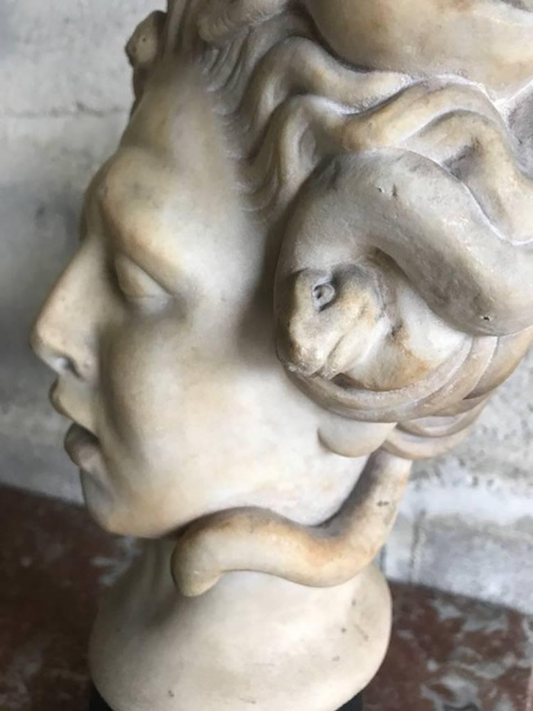 Classical Roman 16th Century Medusa Marble Bust For Sale