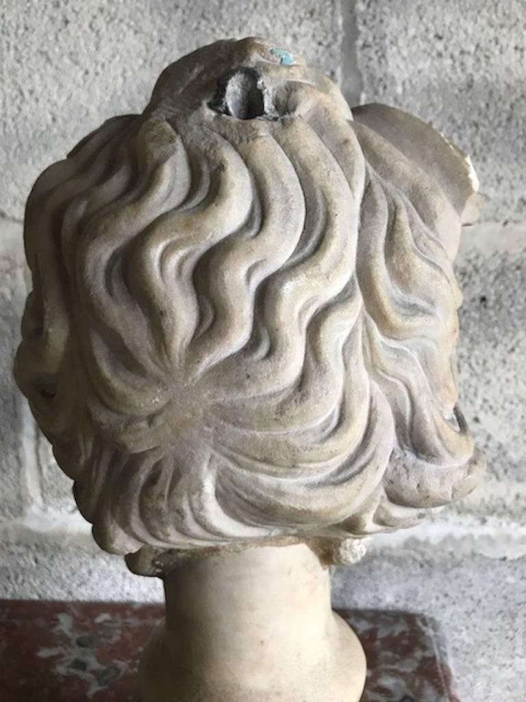 Carved 16th Century Medusa Marble Bust For Sale