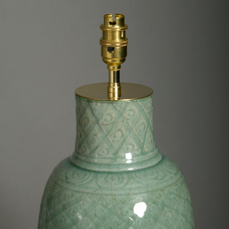 Chinese Export 16th Century Ming Period Celadon Porcelain Vase Lamp For Sale