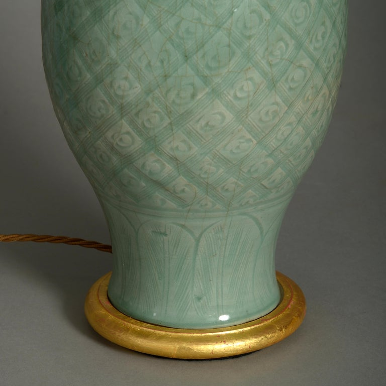 Chinese 16th Century Ming Period Celadon Porcelain Vase Lamp For Sale