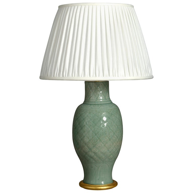 16th Century Ming Period Celadon Porcelain Vase Lamp For Sale