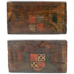 16th Century Pair of Coat of Arms Painted on Wood Part to a Spanish Ceiling