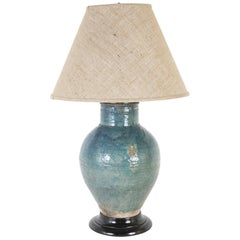 16th Century Persian Turquoise Glazed Pottery Lamp, Large Scale
