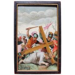 16th Century Renaissance Christoph Schwarz Oil on Wood Christ Going to Calvary