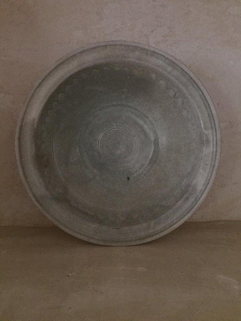 Hand-Crafted 16th Century Sawankhalok Thai Celadon Dish For Sale