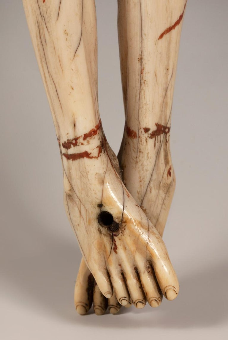 18th Century and Earlier 16th Century Sinhalese-Portuguese Polychrome Ivory Crucifix For Sale